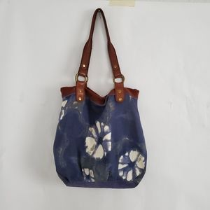 Lucky Brand Leather Floral Boho Tote Shoulder Bag